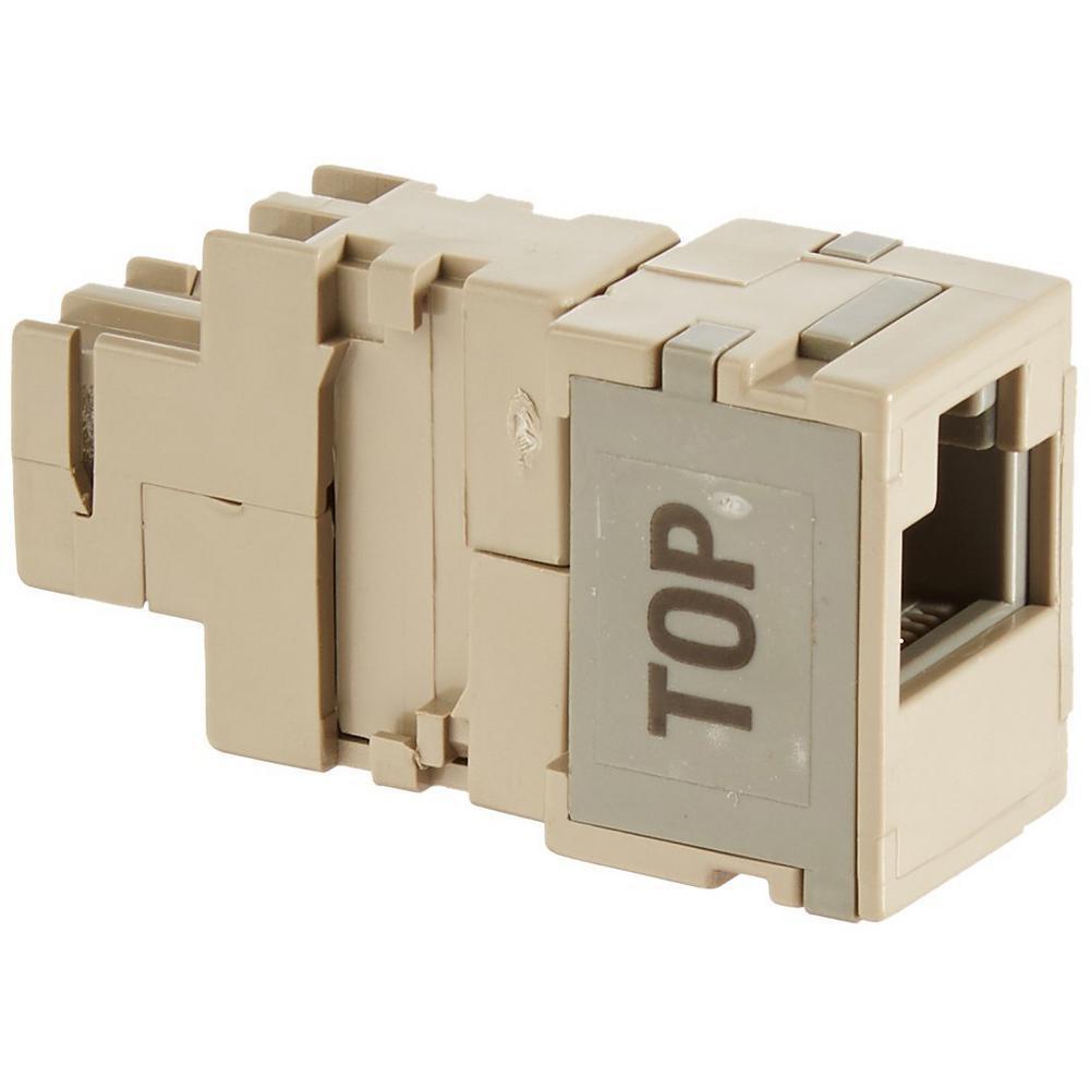 2-Position Modular Adapter 2-Conductor Modular Jack, Beige