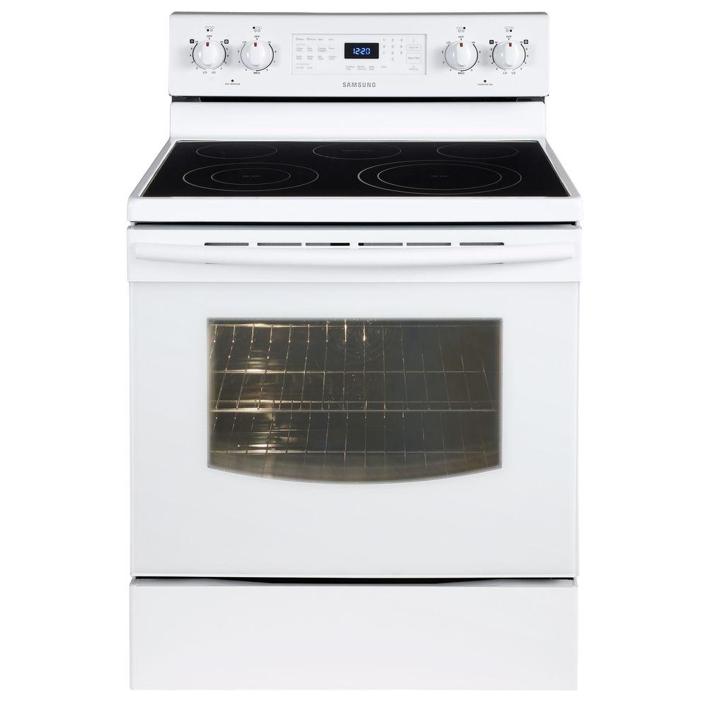 Samsung 5.9 cu. ft. Electric Range with Self-Cleaning Convection Oven in White