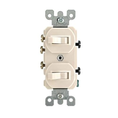 15 Amp 3-Way Combination Double Switch, Light Almond