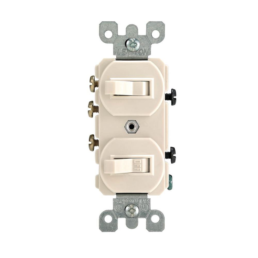 light almond leviton switches r66 05241 0ts 64_1000 leviton 15 amp 3 way combination double switch, light almond r66  at reclaimingppi.co
