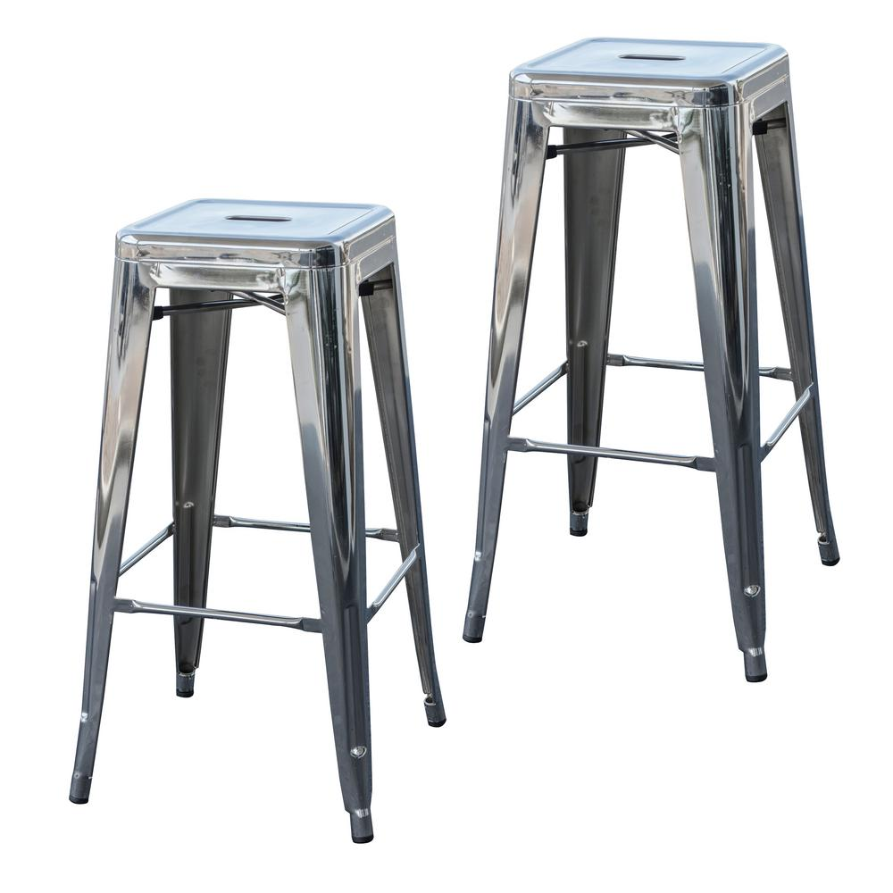 Stackable Metal Bar Stool In Chrome Silver Set Of