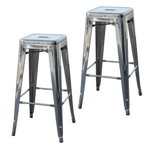 Loft Style 30 in. Stackable Metal Bar Stool in Chrome Silver (Set of 2)