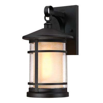 Albright Textured Black 1-Light Outdoor Large Wall Mount Lantern