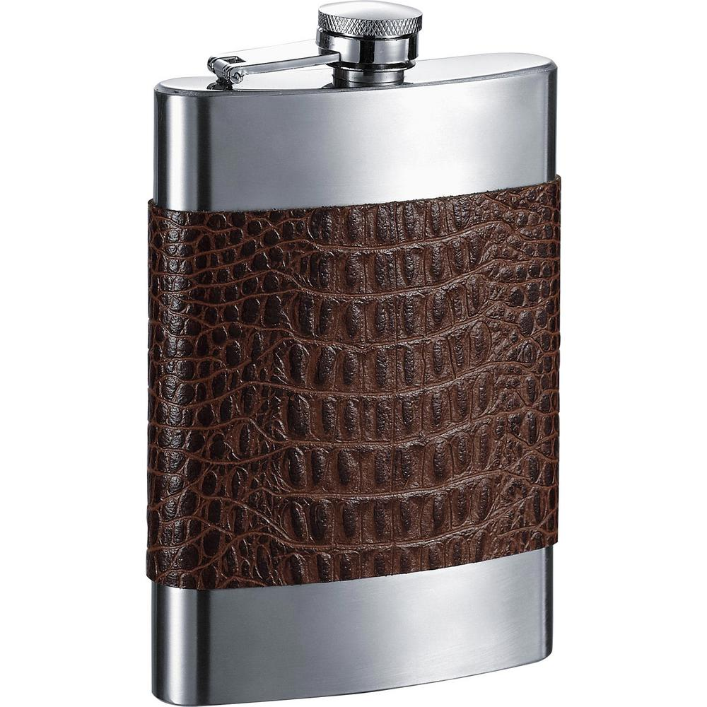 Ally Handcrafted Brown Alligator Patterned Leather Liquor Flask