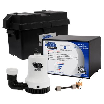 Big Dog CONNECT 3500 GPH Submersible Battery Backup Sump Pump with Smart WiFi Capable Monitoring Controller and Charger