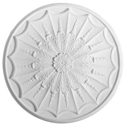 European Collection 26-15/16 in. x 1-3/8 in. Floral and Whorled Leaf Polyurethane Ceiling Medallion