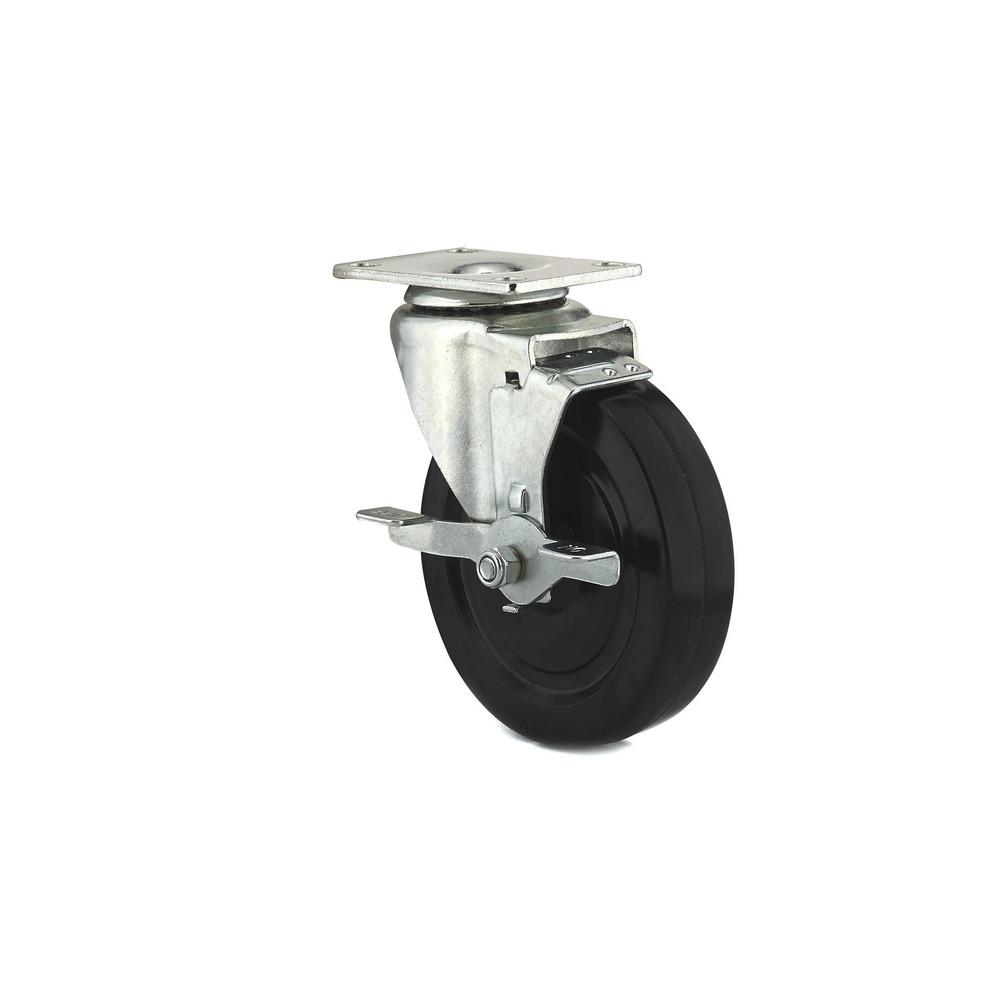 OQO 4 29/32 In. Black Swivel With Brake Plate Caster, 297