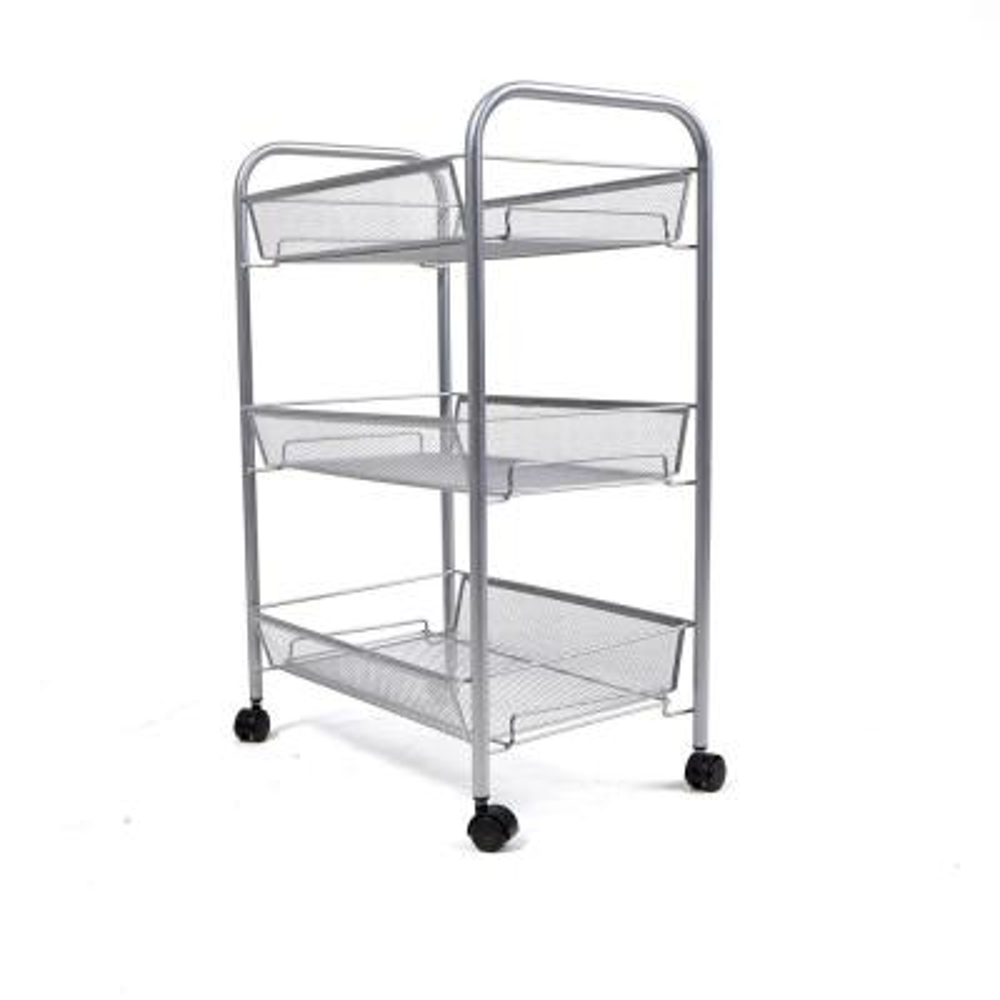 Roll 3-Shelf Rolling Silver Metal Mesh Coffee Cart