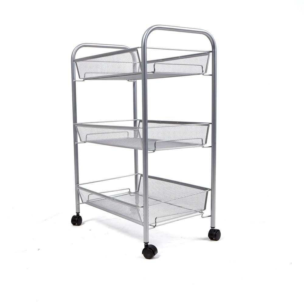 Mind Reader Roll Rolling Metal Mesh 3-Shelf Coffee Cart in Silver