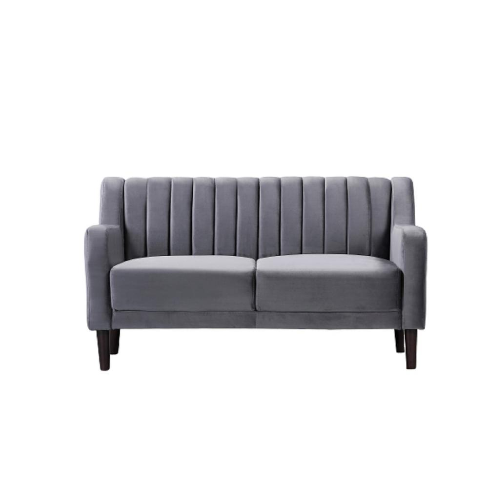 Luka 57.5 in. Grey Velvet 2-Seater Loveseat with Square Arms