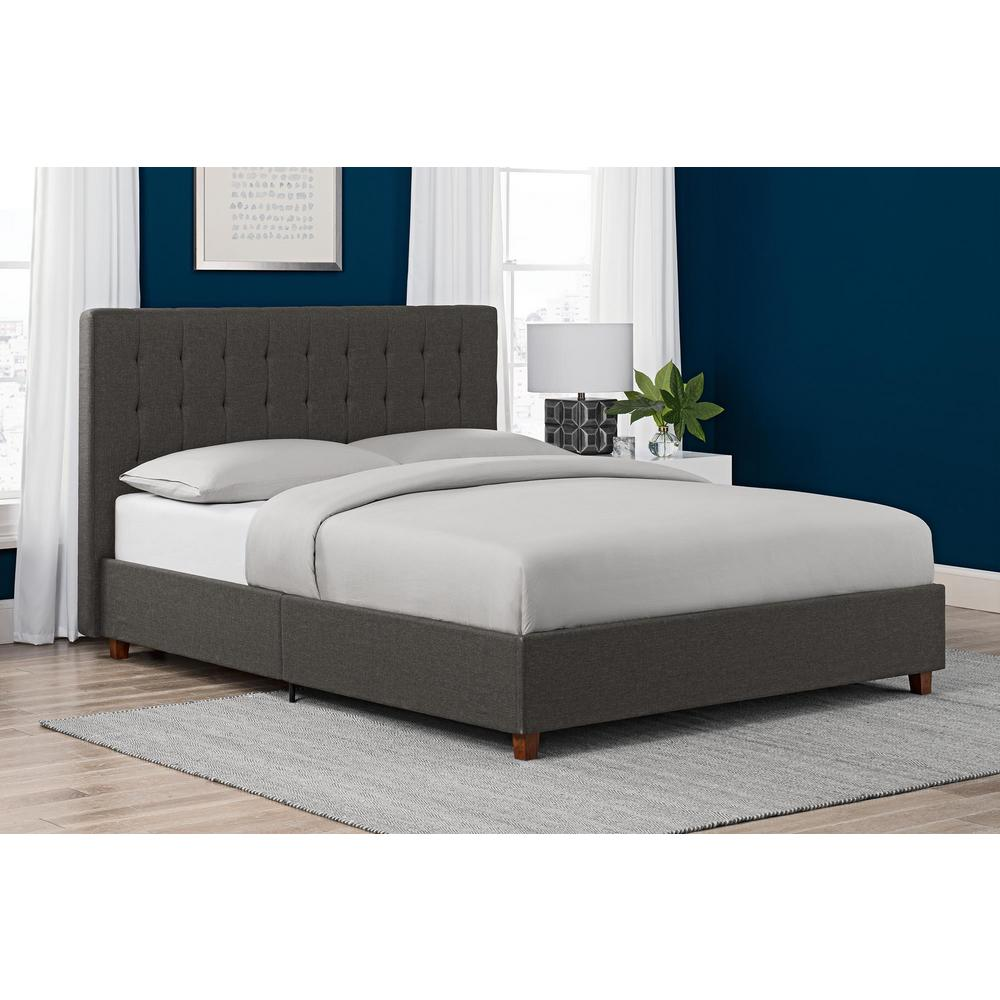 dhp emily gray upholstered linen queen size bed frame 4108439 the home depot. Black Bedroom Furniture Sets. Home Design Ideas