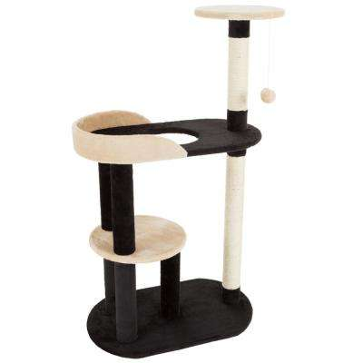 Black and Tan 3 Tier Cat Tree with 2 Scratching Posts