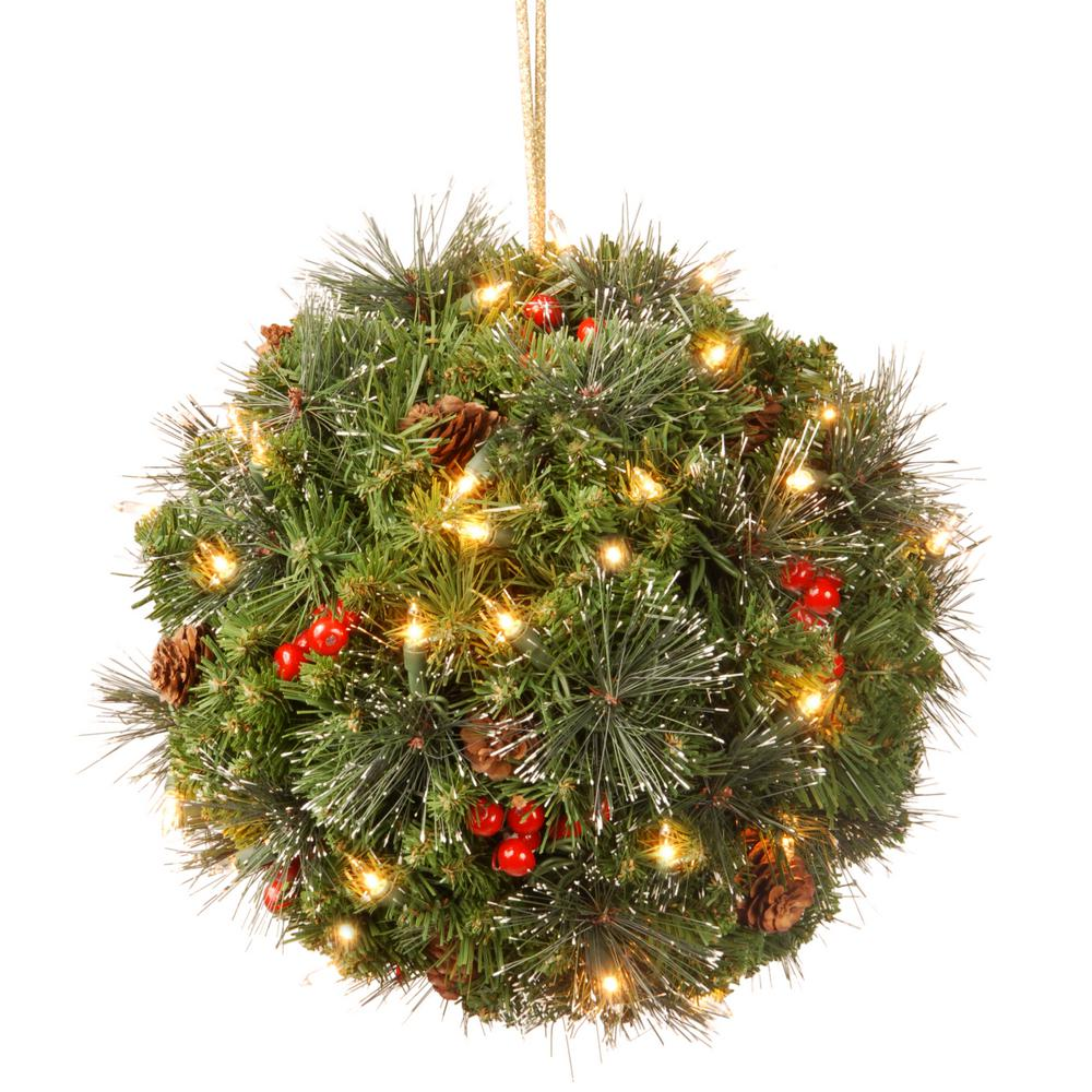National Tree Company 12 in. Crestwood Spruce Kissing Ball with ...
