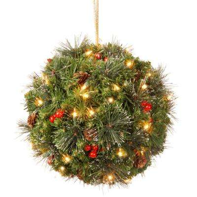 12 in. Crestwood Spruce Kissing Ball with Battery Operated Warm White LED Lights