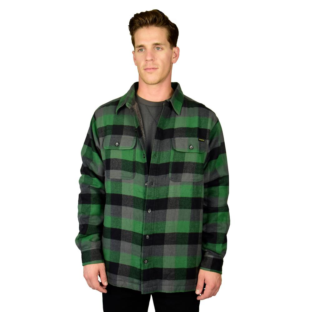 Stanley men 39 s small green navy sherpa lined flannel shirt for Sherpa lined flannel shirt