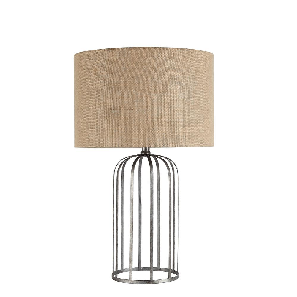 Chrome bird cage style table lamp