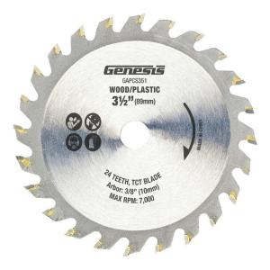 Genesis 3-1/2 inch 24-Tooth Tungsten Carbide Tipped Saw Blade by Genesis