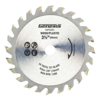 3-1/2 in. 24-Teeth Tungsten Carbide-Tipped Circular Saw Blade for Wood and Plastic
