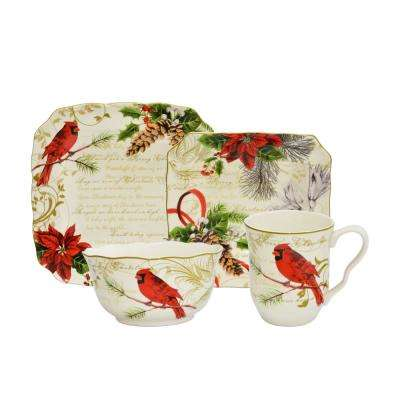 Holiday Wishes 16-Piece Cream and Red Dinnerware Set