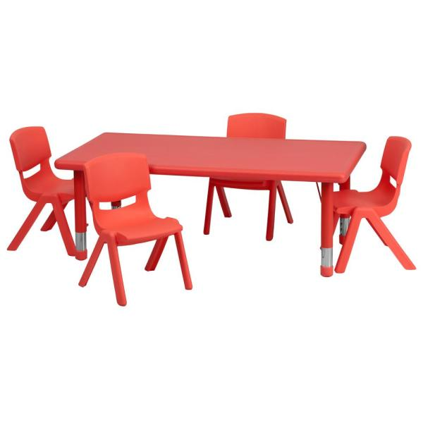 Carnegy Avenue Red 5 Piece Table and Chair Set CGA-YU-9224-RE-HD