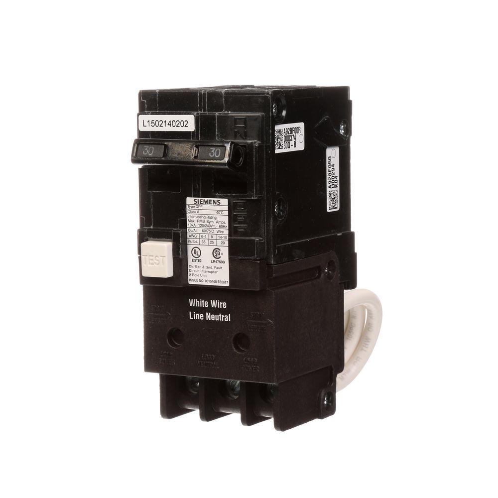 30 Amp Double Pole Type QPF2 GFCI Circuit Breaker