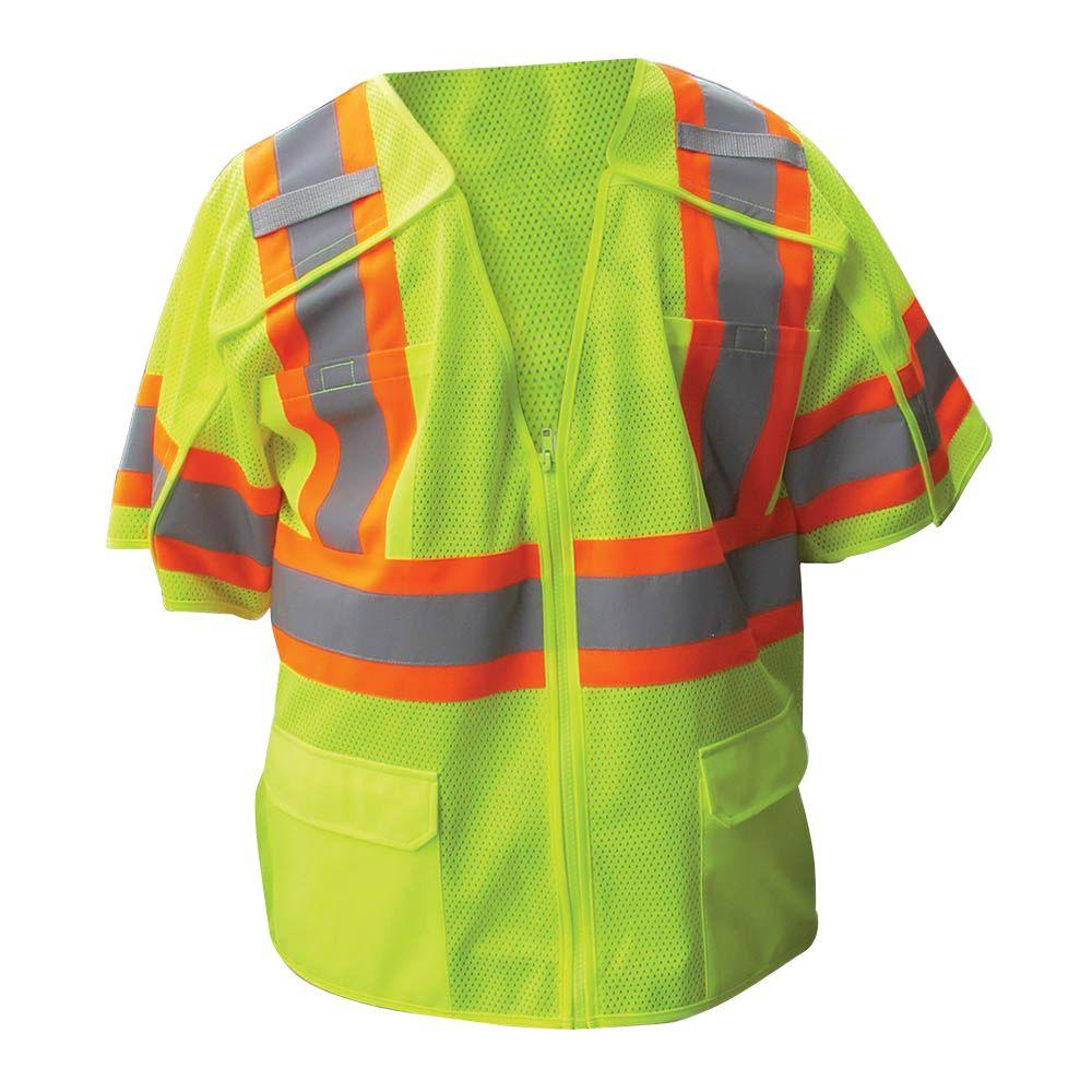 Size Extra-Large Lime ANSI Class 3 Poly Mesh 5-Point Breakaway Safety