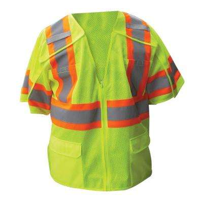 Size Extra-Large Lime ANSI Class 3 Poly Mesh 5-Point Breakaway Safety Vest with 4 in. Orange / 2 in. Silver Striping