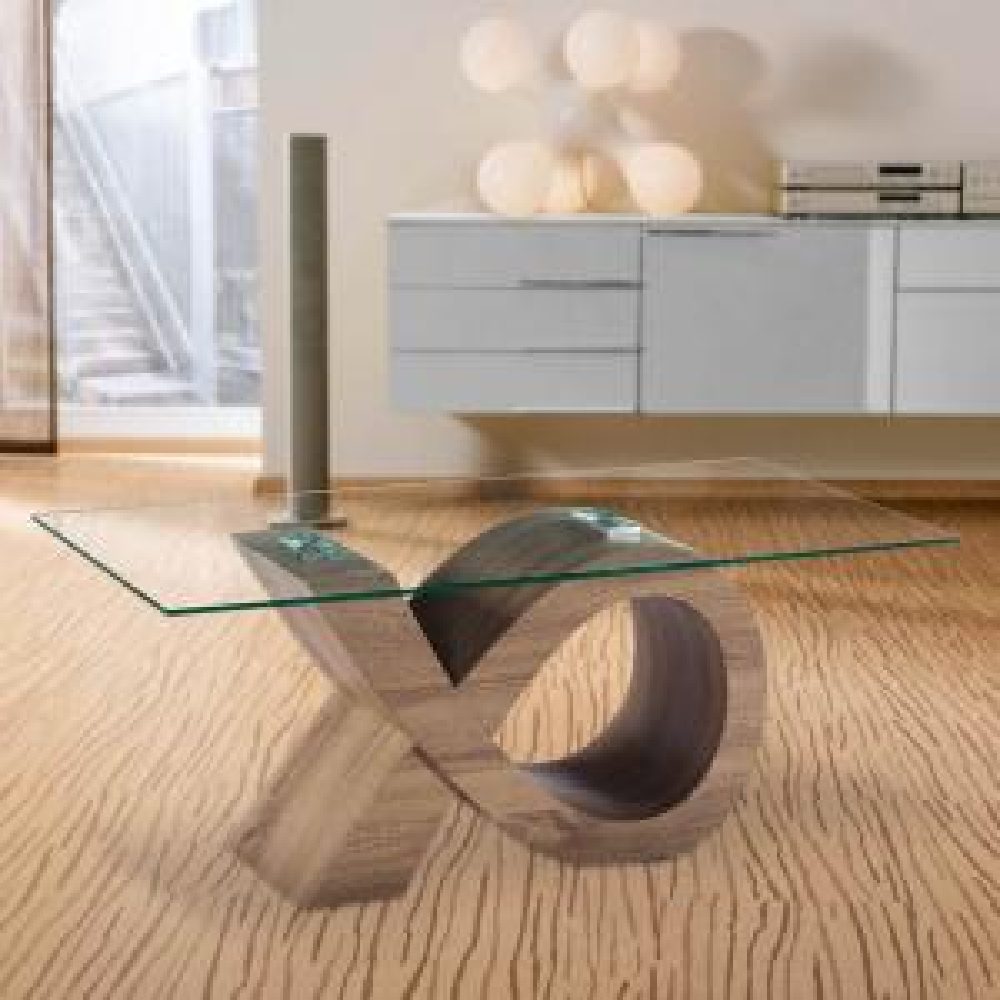 Alpha Gl Coffee Table With Oak Effect Stylish Base