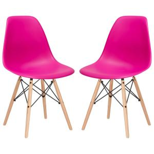 Vortex Fuchsia Side Chair with Natural Legs (Set of 2)