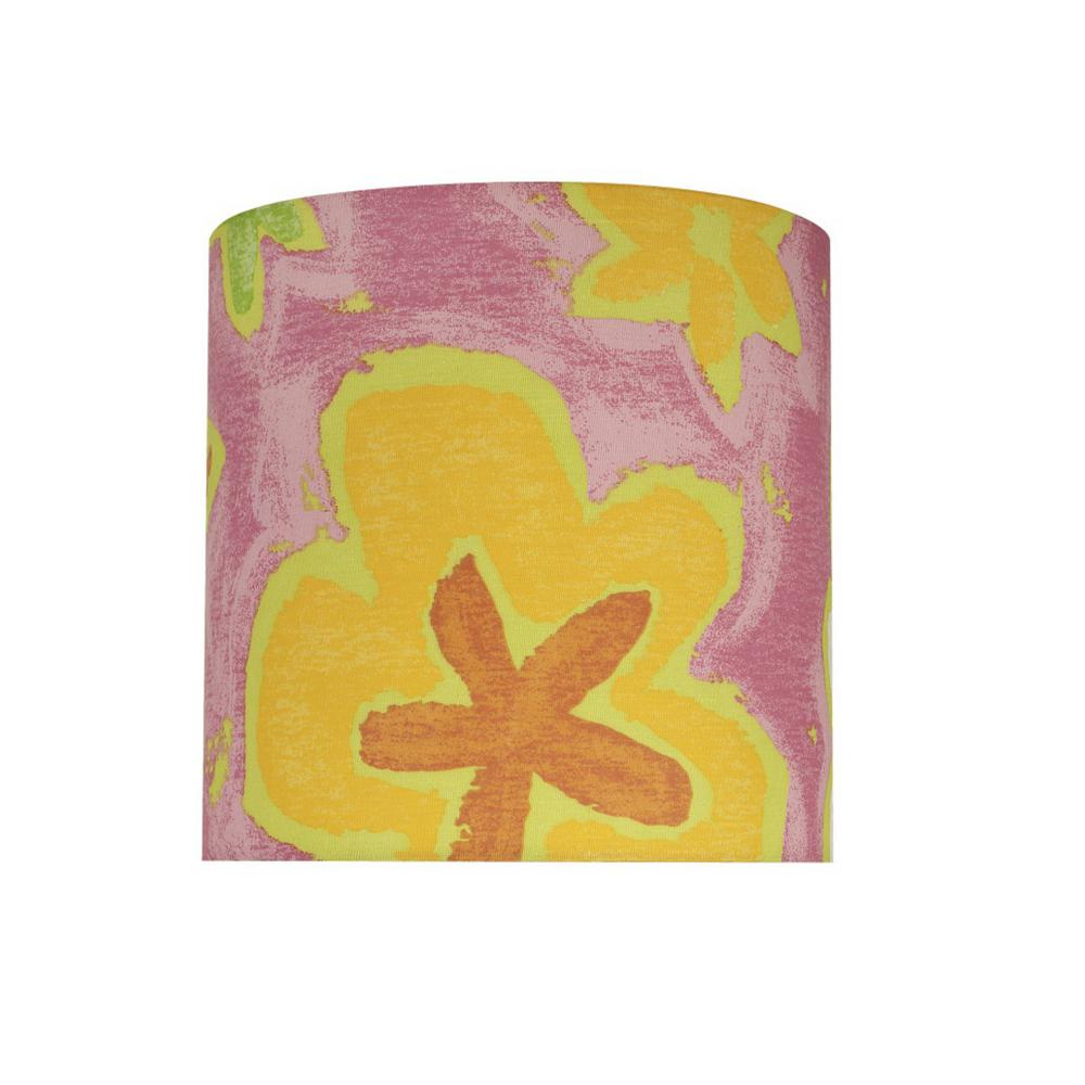 Aspen Creative Corporation 8 In X Pink And Flowers Drum Cylinder