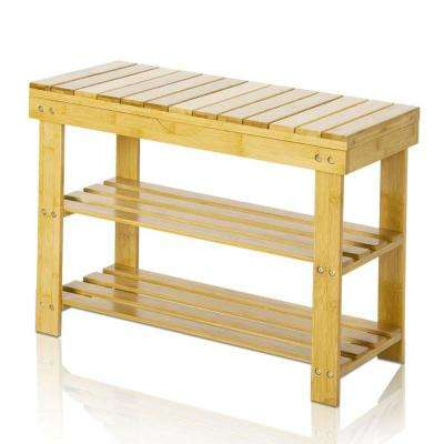 17 in. x 23.6 in. 6-Pair Natural Bamboo Shoe Rack