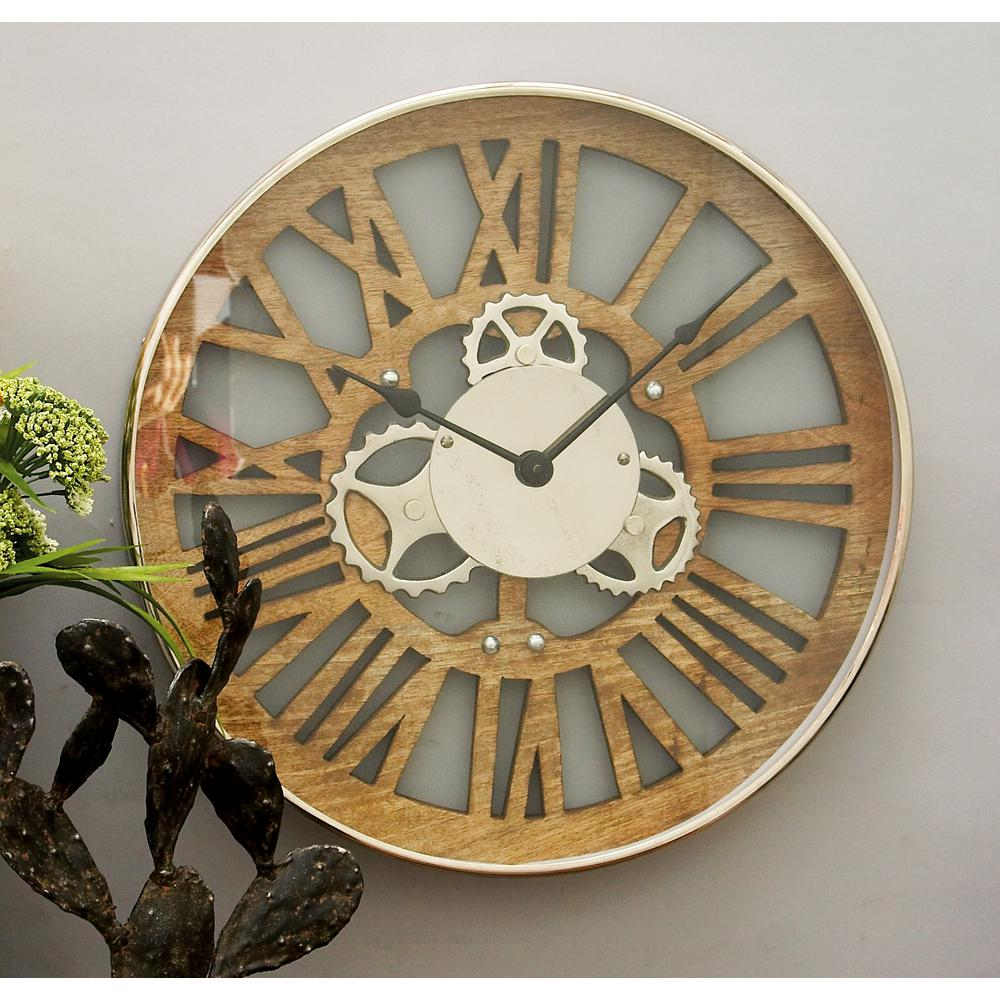 18 in. Industrial Arts Round Wood Gear Wall Clock