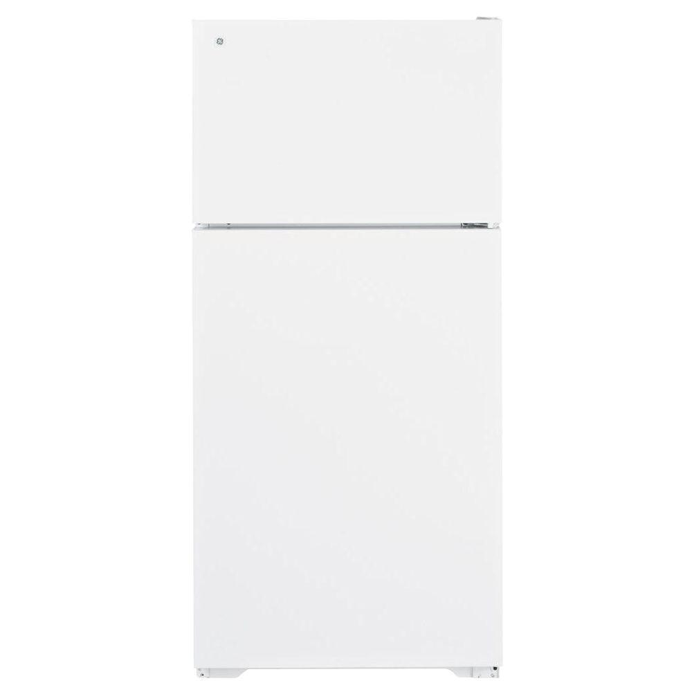 GE 28 in. W 15.7 cu. ft. Top Freezer Refrigerator in White