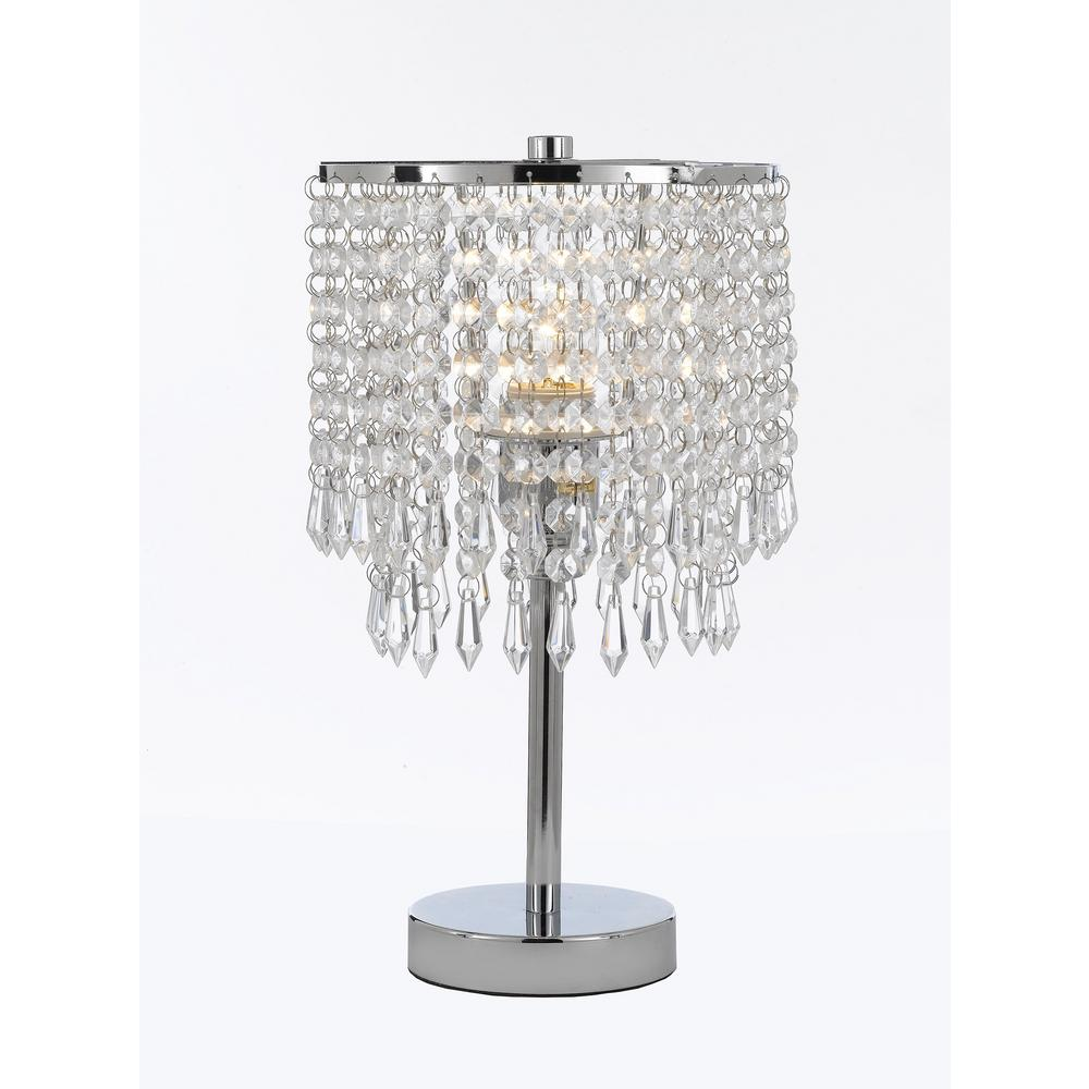 Modern 13 5 In Chrome Round Crystal Desk Lamp Table Bedside