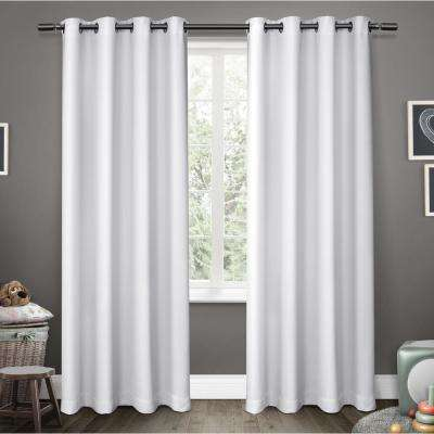 Sateen Kids 52 in. W x 63 in. L Woven Blackout Grommet Top Curtain Panel in Winter White (2 Panels)