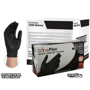GlovePlus Large Black Nitrile Industrial Latex Free Disposable Gloves (Case of 1000) by GlovePlus