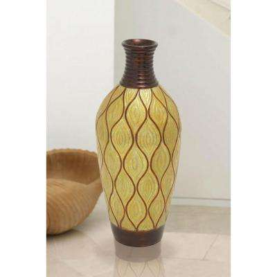 Spouted 30 in. Decorative Vase in Metallic Gold and Brown
