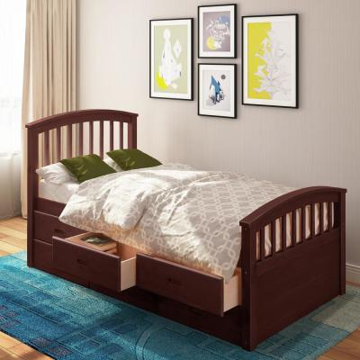 Espresso Twin Size Platform Bed with 6-Drawers