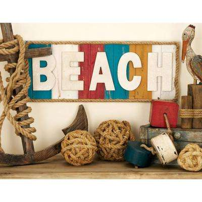 """30 in. x 12 in. Coastal Living Vintage Slat-Style """"BEACH"""" Wall Sign"""