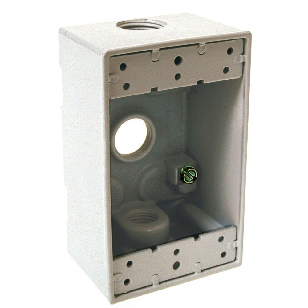 BELL 1-Gang Weatherproof White Box with Three 1/2 in. Threaded Outlets