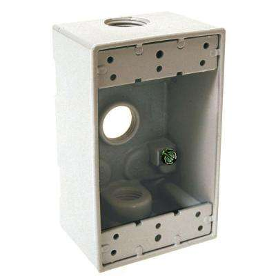 1-Gang Weatherproof White Box with Three 1/2 in. Threaded Outlets