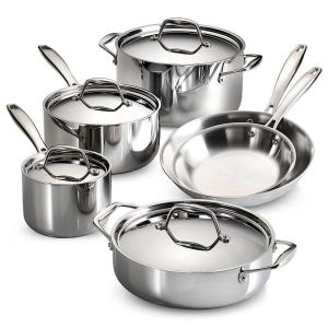 Click here to buy Tramontina Gourmet Tri-Ply Clad 10-Piece Stainless Steel Cookware Set with Lids by Tramontina.