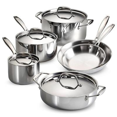 Gourmet Tri-Ply Clad 10-Piece Stainless Steel Cookware Set with Lids