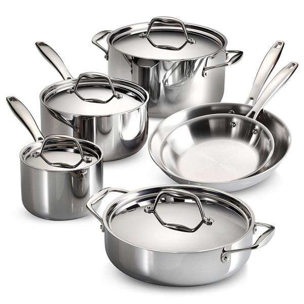 Tramontina Gourmet Tri-Ply Clad 10-Piece Stainless Steel Cookware Set with Lids