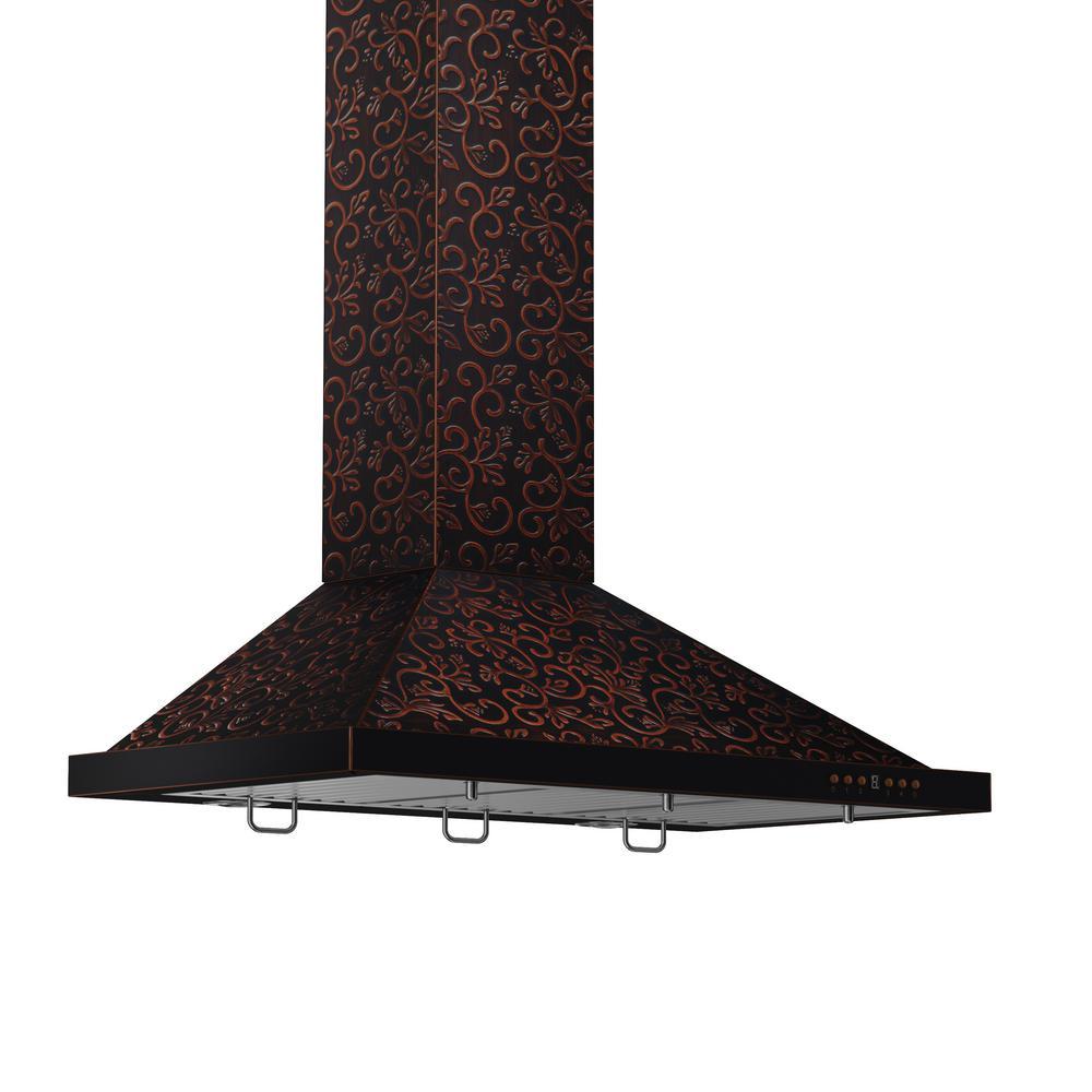 36 in. 760 CFM Convertible Wall Mount Range Hood in Flower Copper