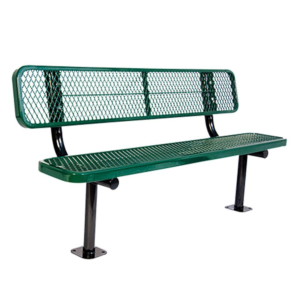 Surface Mount 8 ft. Green Diamond Commercial Park Bench with Back