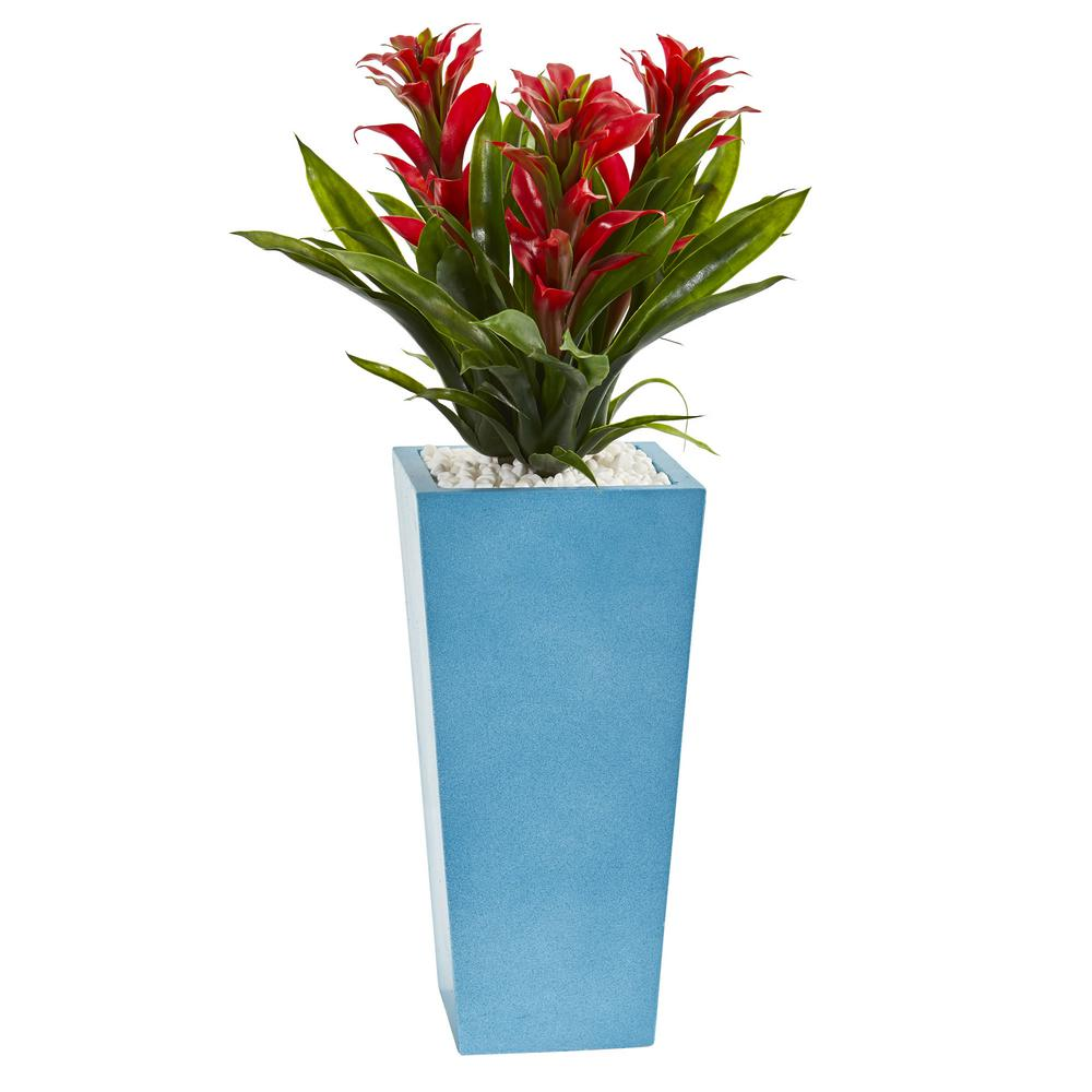 26 in. High Triple Red Bromeliad Artificial Plant in Turquoise Tower