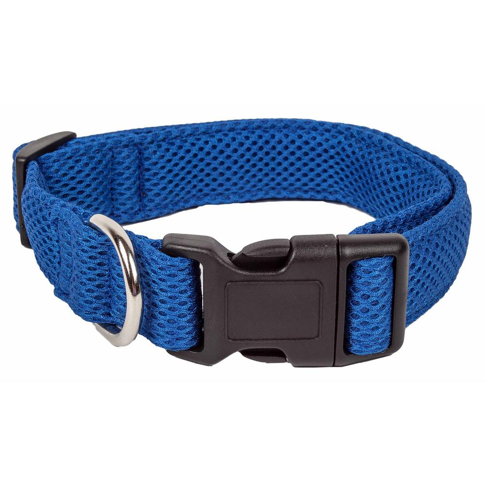 Aero Mesh 360-Degree Breathable Adjustable Mesh Dog Collar, Large, Blue