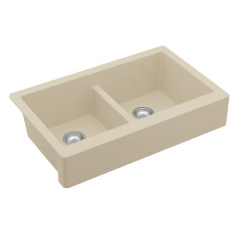 Retrofit Farmhouse Apron Front Quartz Composite 34 in. Double Bowl Kitchen Sink in Bisque