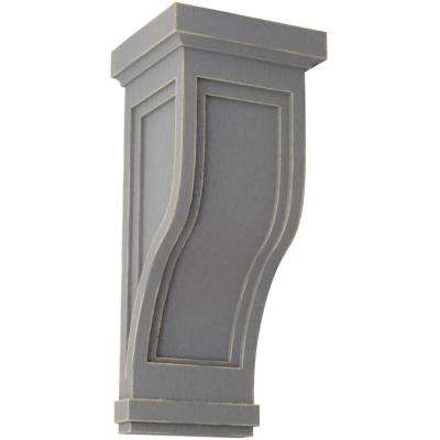 7-1/2 in. x 17 in. x 8 in. Pebble Grey Traditional Recessed Wood Vintage Decor Corbel